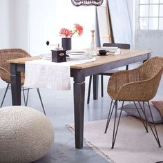 Stuhl, modern, Rattan/Metall