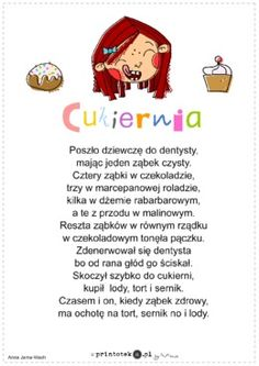 Cukiernia - wiersz - Printoteka.pl Polish Language, Speech Therapy, Kids Learning, Poland, Hand Lettering, Teacher, Humor, Education, Logos
