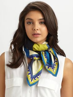 Not Hermes but love the way it is tied. Emilio Pucci Fantasia Silk Twill Scarf in Multicolor (blue)