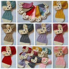 Stretch Toddler/ Kids Adjustabl)ñe Fox Stripe Scarf Hand Knit
