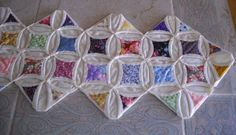 """New 56"""" Vintage Style Scrappy Handstitched Cathedral Window Quilt Table Runner"""