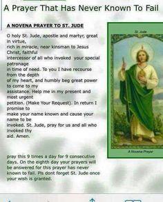 St. Jude, pray for us!  Amen.