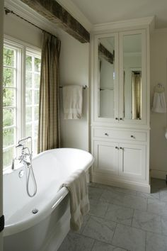 Built in storage for linen closet. I think this looks really nice and is more ac. Built in storage Bathroom Closet, Bathroom Storage, Master Bathroom, Bathroom Towels, Bathroom Laundry, Bathroom Curtains, Chic Bathrooms, Room Doors, Closet Doors