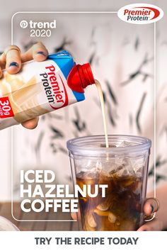 A recipe for Iced Hazelnut Coffee from Premier Protein. Vanilla Protein Shakes, Protein Shake Recipes, Protein Foods, Smoothie Recipes, Chocolate Protein Shakes, Drink Recipes, Smoothies, Dinner Recipes, Yummy Drinks