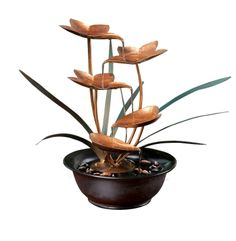 Metal Leaves Tabletop Fountain: Water Pours From One Copper Leaf To The Next. Use Indoors Or Out. Tabletop Water Fountain, Indoor Water Fountains, Indoor Fountain, Indoor Water Features, Polished Pebble, Lily Pond, Resin Table, Leaf Table, Joss And Main