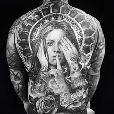 Finished back piece on Ben. One of the toughest guys I've had the pleasure of tattooing. Thanks mate Mostly healed. Done in 5 full day sittings. @_littletokyo_ #backpiece #backtattoo #blackandgrey #realism #tattoo #noevil #rosetattoo #chicano #lotus #healedtattoo