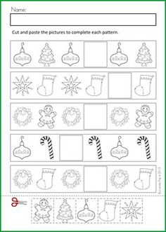 Math & Literacy Worksheets & Activities - Christmas {98 pages} A page from the unit: Patterns