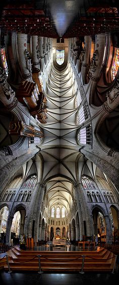 I love me a good vertical panorama. Here's the beautiful interior of The St. Michael and Gudula Cathedral in Brussels.