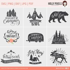 Camping SVG Files Bundle with Family Quotes by HollyPixels on Etsy Save money and get these super adorable camping SVG files in a bundle featuring hip and cute artwork and hand lettering. These designs feature family quotes and more. You're saving when yo