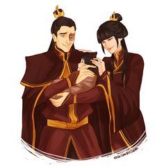 Zuko and Mai as proud parents