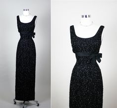 1950s 50s  Vintage 50s Vixen Black Beaded Shelf Bust Hourglass Cocktail Party Wedding Dress S by RedHouseVintages on Etsy
