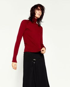 Image 2 of RIBBED HIGH COLLAR SWEATER from Zara