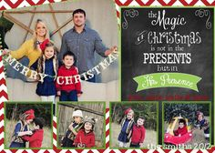 Custom Digital Photo Christmas Card, Chevron Chalkboard Theme & different colors available on Etsy, $9.95