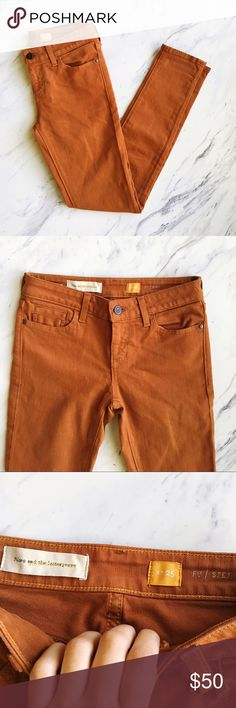 Anthropologie Pilcro Burnt Orange Jeans Fantastic jeans, perfect condition, ready for some longhorn football games! GO HORNS! Skinny fit, great with sandals, flats or boots. Anthropologie Jeans Skinny