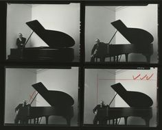 """ransomcenter:  """"There's a reason so many of Newman's portraits have become the iconic images of artists such as Stravinsky and Picasso. Entering their space, Newman managed to capture something of these artists' inner lives.""""Read the Austin American-Statesman's review of """"Arnold Newman: Masterclass."""" Caption:Arnold Newman,Igor Stravinsky, 1945.Contact sheet of four negatives with Newman's marks and cropping lines."""