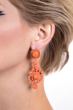 ENAMEL CHANDELIER EARRING R 195.00 - All over enamel detail - Drop style - Chandelier design - Bullet clutch fastening