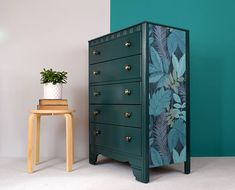 Upcycled vintage hand painted forest green Lebus chest of drawers//tropical paper side panels//old brass knobs Upcycled Furniture, Furniture, Wooden Drawers, Bedroom Drawers, Hotel Furniture, Wallpaper Drawers, Minimal Decor, Diy Furniture, Home Decor
