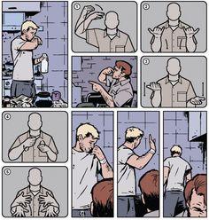 En el cómic 19 de Ojo de Halcón (Hawkeye), Clint se queda temporalmente sordo y tiene que utilizar la lengua de signos para comunicarse con su hermano.