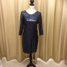 Navy sequin long sleeve cocktail dress - in stock
