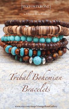 Items similar to Men's Leather Turquoise Bracelet,, Wrap Boho Turquoise Bracelet, Tribal Bracelet, Unisex Bracelet by VintageRoseGallery on Etsy Tribal Bracelets, Bohemian Bracelets, Bracelets For Men, Fashion Bracelets, Beaded Bracelets, Bracelet Men, Wrap Bracelets, Fashion Jewelry, Jewellery Uk