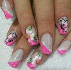 Ideas american manicure designs tutorials for 2019 Nail Manicure, Diy Nails, Cute Nails, Pretty Nails, Flower Nail Designs, Cute Nail Designs, American Manicure, Butterfly Nail Art, French Tip Nails