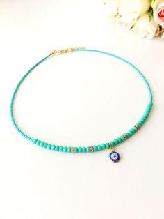 Turquoise Evil eye necklace, miyuki necklace, seed beads necklace, evil eye charm necklace, blue evil eye, greek evil eye jewelry, evil eye #jewelry #necklace #evileye #bead #charmnecklace #evileyenecklace #blueevileye #evileyejewelry #greekevileye #miyuki #turquoisejewelry #turquoisenecklace
