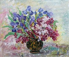 Buy Irises and lilacs still life. 60 * 50 cm, canvas, oil, 2012., Oil painting by Viktor Makarov on Artfinder. Discover thousands of other original paintings, prints, sculptures and photography from independent artists.