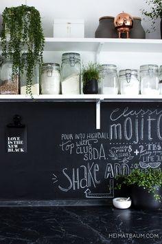 Chalkboard wall in the kitchen!