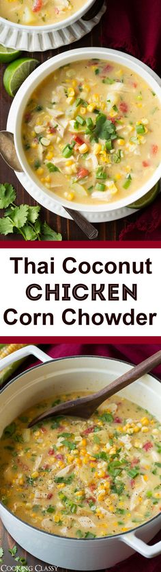 Coconut Chicken Corn Chowder - this soup is a tasty Thai spin on the classic! It's a creamy, lightly sweet, hearty soup that will keep you craving more. Paleo Soup, Food For Thought, Soup Recipes, Cooking Recipes, Party Recipes, Chili Recipes, Appetizer Recipes, Chicken Recipes, Chicken
