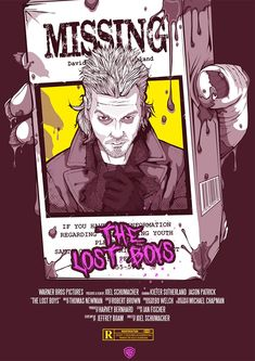 My Lost Boys alternative movie poster. Maybe my fave Vampire film? Lost Boys Movie, The Lost Boys 1987, Horror Movie Tattoos, Bad Candy, Vampire Film, Cute Emo Boys, Kiefer Sutherland, Horror Artwork, Scary Movies