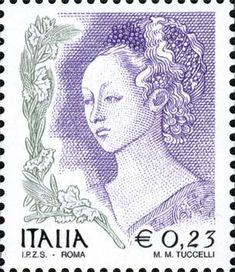 """1998 - Donna nell'arte - Il soggetto del francobollo da 23 centesimi è Erodiade,  un particolare dell'affresco """"Banchetto di Erode e danza di Salomè"""" di Filippo Lippi."""