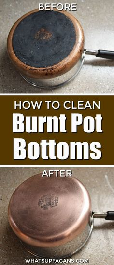 how to clean a burnt pot bottom | cleaning tutorial | kitchen cleaning hack tip | copper bottom pot | Revere Ware #BFKbeforeandafter #BKFkitchen #cleaning #kitchen #springcleaning