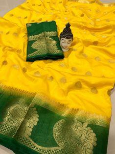 Yellow Classy wedding saree, Festival, Partywear Soft Kanjivaram Silk saree With Blouse Piece Bandhani Saree, Kanjivaram Sarees, Kanchipuram Saree, Lehenga Saree, Sari, Soft Silk Sarees, Cotton Saree, Cotton Silk, Yellow Saree