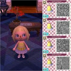 Simple Sundress animal crossing new leaf QR codes. visit peanutfashions.tumblr.com for full resolution codes.