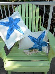 "CUTE Knobby sea star starfish blue  20"" square pillow indoor outdoor coastal ocean saltwater seashore beach echinoderm Crabby Chris Original"