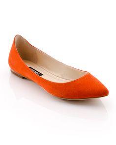 Orange Pointy Flats