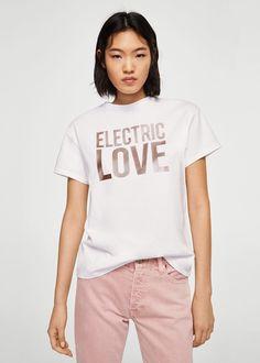 Camiseta metalizada mensaje - Camisetas y tops de Mujer | MNG Colombia