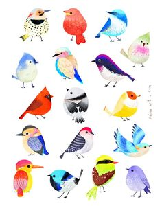 neiko ng illustration bottom left pink and yellow birdBird illustration- textile design and surface pattern inspirationVery Charlie Harper.Bernstein & Andriulli is a premier creative artist management agency & media consultancy.Water colors or pastels