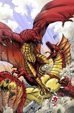 Matt Frank art featuring Fire Rodan and Titanosaurus.