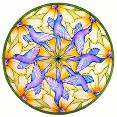 Duiven mandala  Hummingbird Mandala by hollizollinger