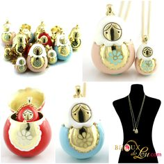 Matryoshka Necklace Sets: Each set consists of a mother locket on a long gold plated chain & a baby doll pendant on a long gold plated chain. The mother locket is around 1 3/8 inches high while the baby is 5/8 inch high. This necklace set or jewelry is a statement piece. http://bijouxdelou.com/index.php/products/by-theme/signature-pieces