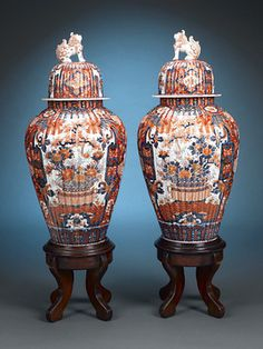 These impeccable and rare Japanese porcelain urns exemplify the Imari style ~ M.S. Rau Antiques