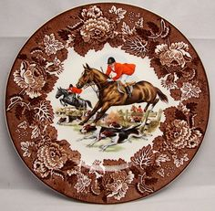 Vintage Brown Transferware English Hunt Scene Plate English by www.EnglishTransferware.etsy.com