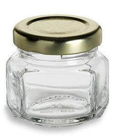 1.5 oz (45 ml) Oval Hexagon Glass Jars w/ Gold Lid