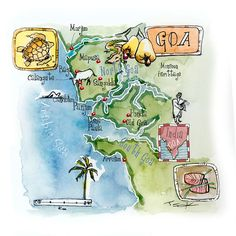 Eleni Tsakmaki - Map of Goa - Decor Goa Travel, Travel Maps, India Poster, Indian Illustration, Asia Map, Map Painting, Goa India, Travel Brochure, Travel Scrapbook