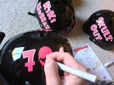 How to Paint Name & Number on Roller Derby Helmet Roller Derby Skates, Roller Derby Girls, Quad Skates, Roller Skating, Softball Helmet, Girls Softball, Derby Names, Softball Crafts, City Roller