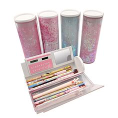 New Make-up Field Spectacle Bag Multifunction Storage Case Quicksand Translucent Inventive Cylindrical Pencil Stationery Pen Holder Cheap Home Office, Home Office Storage, Stationery Pens, Kawaii, Pencil Writing, Makeup Box, Pen Holders, Aliexpress, School Supplies