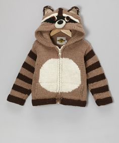 Take a look at this Brown Raccoon Wool-Blend Zip-Up Hoodie - Boys by EARTH RAGZ on #zulily today!