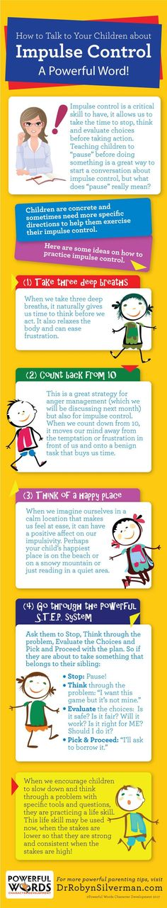 Talk to Your Kids About Impulse Control | Teaching | Infographic | Powerful Words Character Development | Child Development