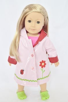 Brittany's - PINK FLOWER RAINCOAT FOR AMERICAN GIRL DOLLS, $14.99 (http://www.mybrittanys.com/outerwear/pink-flower-raincoat-for-american-girl-dolls/)